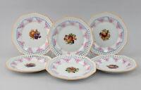 8640147 Porzellan Durchbruch-Zierteller 6 Obstteller Obstmotiv Schumann um 1930