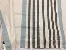 WEST POINT KING Pillow Sham (1) TAN BLACK BLUE STRIPE COTTON Zipper Closure NEW