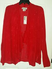 NWT $48 Nouveaux Size S Red  Very Soft Open Weave Open Front Cardigan Sweater