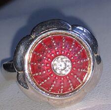 Red Enamel & Center Crystal Authentic Kameleon Sterling JewelPop, Sterling w