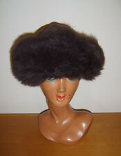Ladies Brown Real Sheepskin & Suede Hat Russian Style Cossack One Size Ex Cond