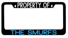 Black METAL License Plate Frame Property Of The Smurfs Auto