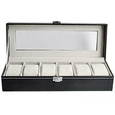 Black Faux Leather 6 Grids Watch Display Box Show Case Jewelry Storage Organizer