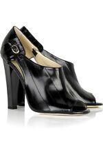"JIMMY CHOO ""KEIRA EEL' BLACK Leather Shoe Boots Peep Toe Size Uk 4 Eu 37"