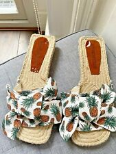 Jeffrey Campbell White with Pineapple Espadrille Sliders / Sandals Size 4