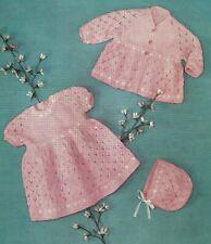 Knitting pattern Baby dress, coat & bonnet. Matinee set.in 4 ply baby wool. girl