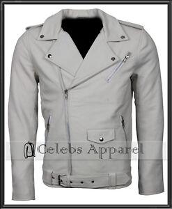 Mens Brando Biker Fashion Genuine Sheepskin Soft White Leather Jacket
