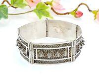 Antique / Vintage 935 Sterling Silver Filigree Panel Bracelet -Made in Palestine