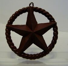 Cast Iron Rustic Texas Star Rope Ring Western Arts Crafts Antique 6 1/2 in