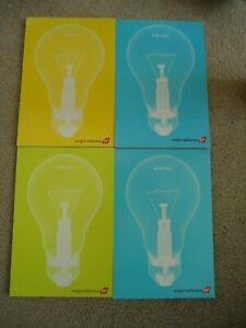 4 VIRGIN ATLANTIC PLAIN PAPER PADS YELLOW & BLUE LIGHT BULB ON THE COVER