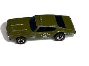 Vintage Hot Wheels STAFF CAR Redline ARMY ORIG Green Olds 442 Oldsmobile HK 1969