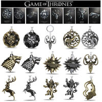 USA! Game of thrones Targaryen House Stark Lannister Keychains Key Ring Keyfob