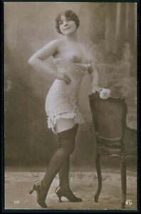 French nude woman corset fashion original c1910-1920s old RPPC hoto postcard