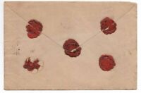 1870 SWISS manuscript enveloppe with RARE WAX SEAL 5 Damaged authentic original