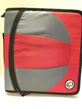 "Case It Zipper Binder 2"" Dual 3 Ring Red Gray"