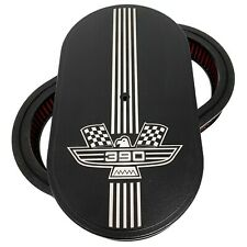 "Ford FE 390 American Eagle Logo 15"" Oval Air Cleaner Kit Black - Ansen USA"