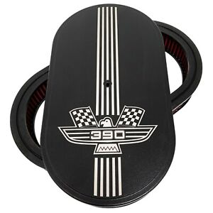 "Ford FE 390 American Eagle Logo 15"" Oval Air Cleaner Kit Black - Ansen USA"