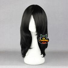 Anime 45CM Medium Black Wavy Heat Resistant Basic Style Party Cosplay Wig+Cap