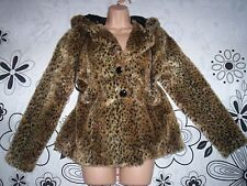 ❤❤ RIVER ISLAND...FAUX  FUR HOODED  POM-POM  LEOPARD  ANIMAL  COAT  10-12   ❤❤