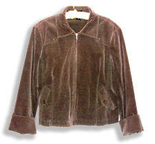 Mel & Lisa Khaki Brown Cotton Blend Velour Lined Zip-Up Jacket w/Stretch-12