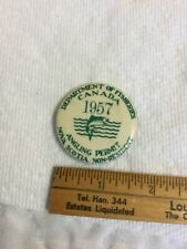 Vintage 1957 Badge License Pin Canada Dept Fisheries Angling Permit Nova Scotia