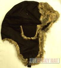 WATERPROOF BLACK TROOPER BOMBER TRAPPER AVIATOR ARCTIC WINTER FAUX FUR CAP HAT