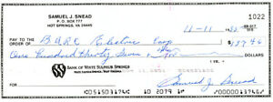 Sam Snead Certified Authentic Autographed Signed 3x8.5 Check #1022 135150