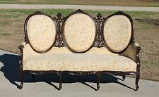 Gorgeous Elegant Carved Rosewood Victorian Triple Oval Back Sofa c1865