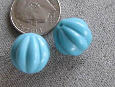 Pr Vintage Art Glass Beads Turquoise Melons  12mm