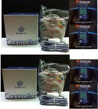 2 NEW OEM SEGA Dreamcast Controllers & 4 Blue Visual VMU Memory Cards Combo