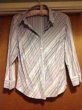 ladies fitted striped blouse with flower detail