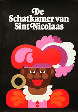 Original Vintage Poster Dutch Christmas Saint Nicolas Santa Black Treasures 1975