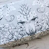 Tahari Full Queen Duvet Cover Set floral scroll Medallion Gray white 300T cotton