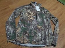 bnwt  ladies ls1/2 zip realtree under armour-green camo-pink symbol-xl  fitted