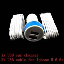 Apple USB Car Charger + 2X USB Lighting cable iPhone 5 5C 5S 6 6 Plus 6S RL