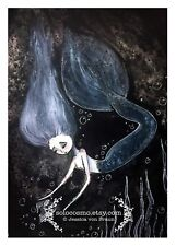 5x7 'Underwater' The little mermaid fairy tale fantasy Mer person Water Art