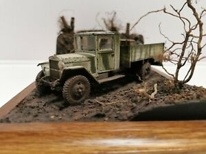 Tamiya 1/35 WWII,ZIS Truck,Russian winter, cold, mud. Pain of Wehrmacht soldier