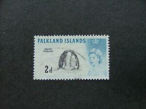 Falkland Islands QEII 1966 2d black & deep blue Weak Entry SG195ab FU