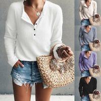 Women's Casual Long Sleeve Henley Shirt Rib Knit Blouse Button Tunic Tops USA