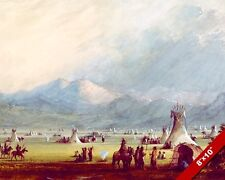 NATIVE AMERICAN INDIAN TEPEE CAMP LANDSCAPE PAINTING ART REAL CANVAS PRINT