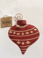 Adams & Co Metal Toy Top  Christmas Ornament; Red W/ Glitter Decoration