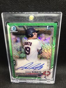 2021 Bowman Chrome 1st Aaron Sabato Auto 45 /99 Green Shimmer Refractor Twins RC