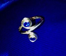 Sterling Silver [Royal Blue Swirl] Sz 3 Toe Ring Pinkie Knuckle Anniversary New