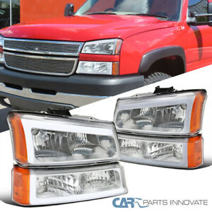 For 03-07 Chevy Silverado Avalanche LED Strip Headlights+Bumper Lamps Left+Right