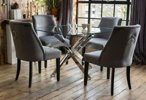 Luna Luxury Glass Dining Table Set with 4 Elle Grey Chairs