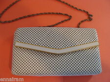 "White Enamel Mesh Evening Bag 5"" x 1.5"" x 9""  w/ chain 1989 Hong Kong purchased"