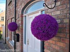 2 Best Artificial 40cm Purple Heather Topiary Lavender Balls Hanging Boxwood New