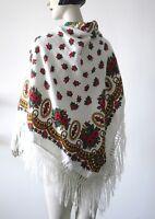 BIG Schultertuch Wollquasten TRUE VINTAGE 120x120 Folklore Tuch Schal Portugal