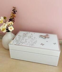 Glass White Silver Mirrored Diamante Butterfly Jewel Jewellery Trinket Box Gift