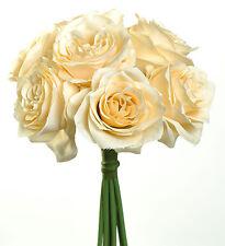 BEIGE CHAMPAGNE Roses Bridal Bouquet Silk Wedding Flowers Centerpiece Bridesmaid
